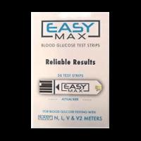 EASYMax Blood Glucose Test Strips Mail Order box 50 Ct