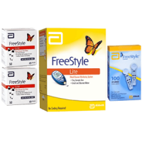 Abbott Freestyle lite meter,100 test strips & 100 lancets